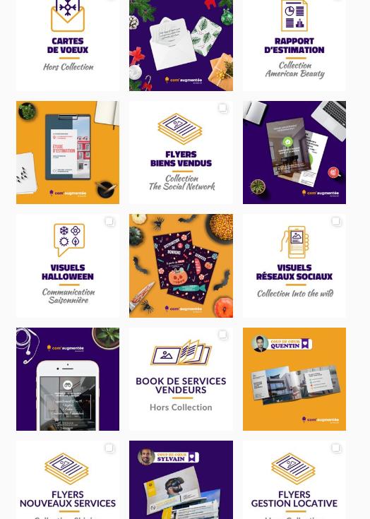 exemple de feed à plusieurs cases Instagram com'Agmentee d'immo2.0