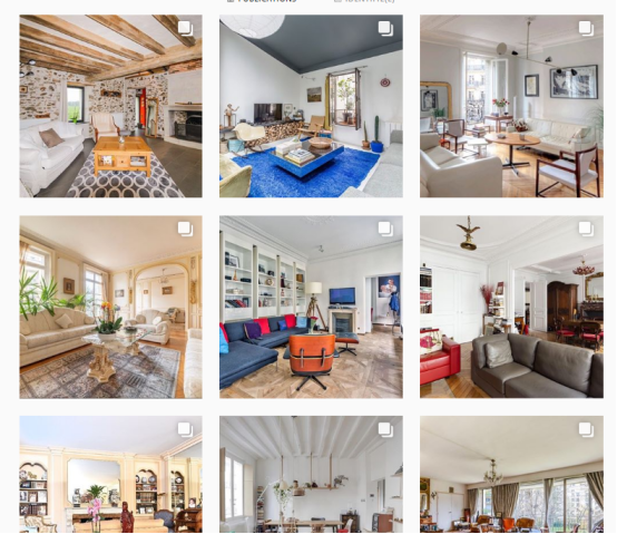 exemple de feed avec photos de biens immobiliers de Lici