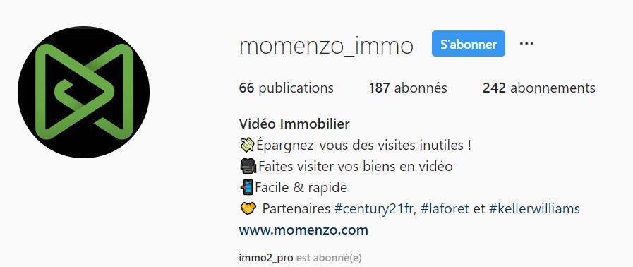 Exemple de bio sur Instagram avec Momenzo